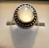 Sterling Silver Ring with a Large Oval Stone